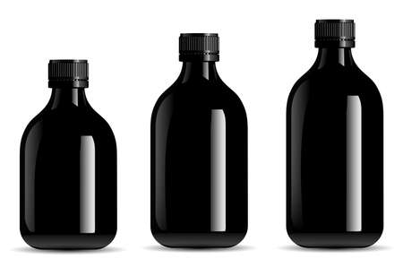 Black bottle mockup. Black glass syrup jar, tincture vial. Screw cap container for organic essential oil, realistic pharmacy suspension. Realistic juice liquid bottle