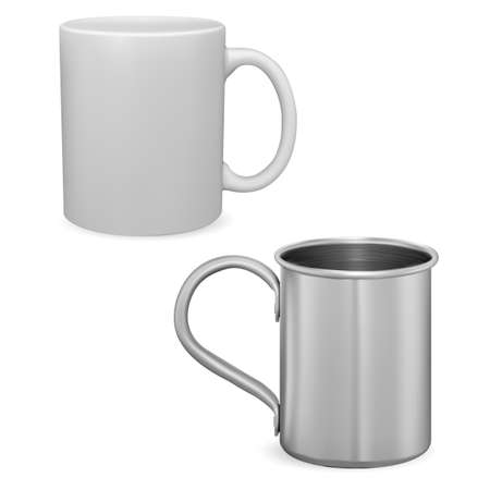 White coffee cup mockup. Silver metal mug isolated. Ceramic teacup with handle 3d vector template. Iron or stainless steel mug photorealistic design