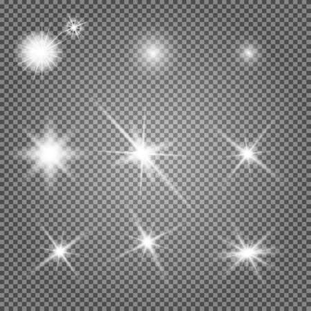 Star light. Starburst glow effect, vector sparkle. Flash shine, glowing bright on transparent background. Abstract glitter decoration, shiny sunlight ray, magic disco element. Special spark