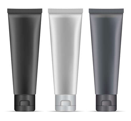 Silver cosmetic tube. Charcoal cream tube mockup. Toothpaste package, 3d vector blank. Makeup skin masque plastic packaging. Luxury premium men product, beauty container blank, hand cream 向量圖像