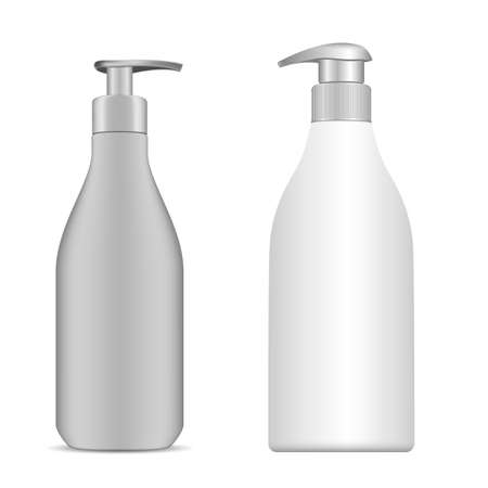 Hand sanitizer bottle. Cosmetic shampoo pump bottle. Liquid soap, gel container. Face lotion beauty product blank with batcher. Vector container sample, realistic design. Medicine pack