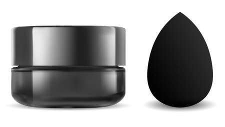 Black cosmetic jar. Makeup sponge, beauty blender mockup. Face powder blanding applicator 3d blank. Premium foundation product advertising. Glass cream jar, charcoal can, skin scrub 向量圖像