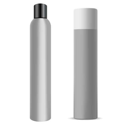 Hair spray bottle. Chrome deodorant can, hair aerosol cylinder mockup. Aluminum hairspray container blank, realistic toilet refresher design, round sprayer pack Paint tin packaging with sprayer cap