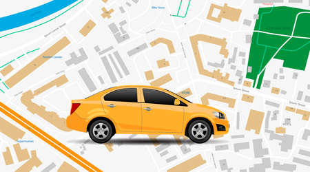 Taxi car vector app. City map gps location, top vew. Car rent mobile service, internet banner. Modern online vehicle rental technology, yellow taxi illustration concept. City street navigation