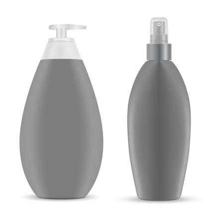 Cosmetic spray bottle mockup. Hair shampoo pump package, 3d plastic container with dispenser, vector blank. Body loion pack isolated. Hygiene detergent, face cream template. Bathroom care 向量圖像