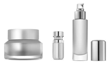 Cosmetic serum bottle set. Collagen essence container mock up. Glitter or foundation glass object. Cream jar design, eyedropper tube