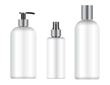 Cosmetic bottle package mockup. Beauty product pack, shampoo or soap container, shower gel template illustration. Realistic hygiene dispenser, aerosol conditioner press cap. Spa branding