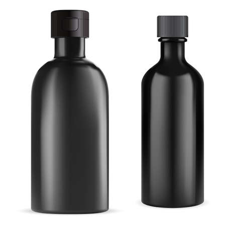 Black bottle. Essential oil vial. Medical syrup flask 3d blank. e juice container design. Herbal tincture medical bottle with screw cap. Realistic vector glossy container, pharmacy packaging