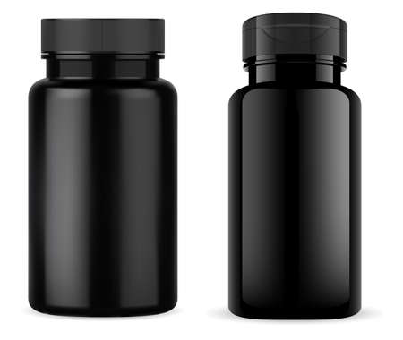 Black pill jar. Glossy black plastic tablet bottle, vitamin container mockup. Medical capsule product packaging design. Medicine drug template, sport medicament can, vertical template