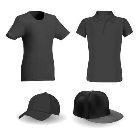 Black tshirt, black baseball hat vector template mockup. Sport apparel realistic blank, active short sleeve outfit. Collar shirt, clothes illustration, front view, merchandise wear 向量圖像