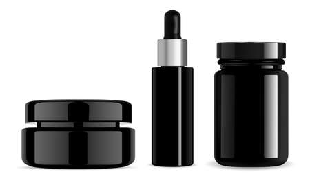 Black cosmetic bottle, cream jar, serum dropper, pill bottle. Gloss glass beauty package, vector facce porder container blank. glossy serum flask