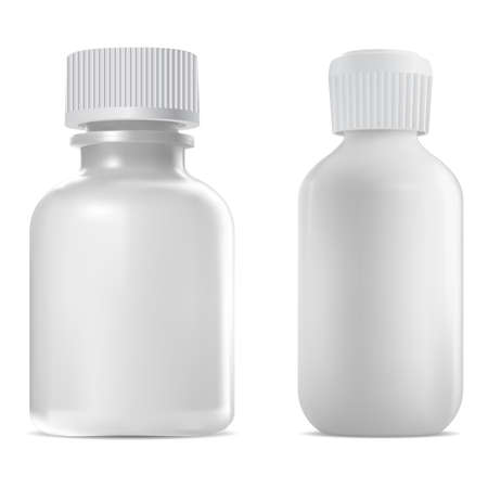 Screw cap bottle, medical vial. Apothecary syrup, clear medicine bottle template. Serum dose jar. Medicament drug, realistic vitamin container blank mockup. White glass bottle design