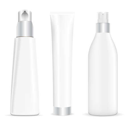 Pump tube, cosmetic cream dispenser, cream tube beauty package mockup. Serum essence container, vector jar blank for body gel, face skin foundation. Cleansing moisturizer spray bottle