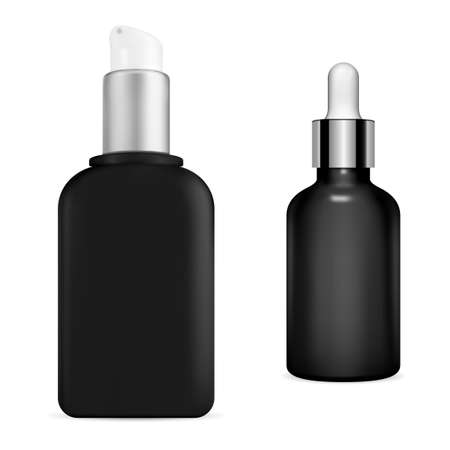 Black serum bottle. Cosmetic pump container, 3d vector concept. Premium eyedropper flask, realistic branding concept. Liquid essence oil, protein lotion eye drop, moisturizer case 向量圖像