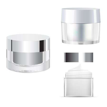 Cosmetic cream jar mcokup. Glass creme packaging blank. Clear 3d template for face powder. Transparent cream bottle, skin care. 3d vector illustration