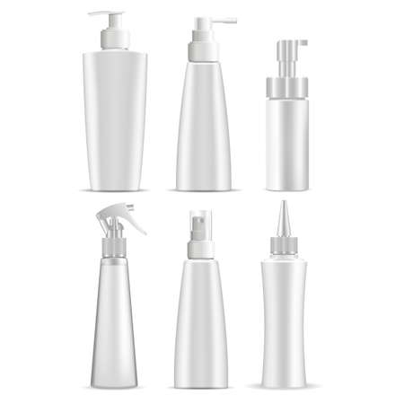 Cosmetic bottle mockup. White cosmetic product package. Plastic container 3d template blank for shampoo, lotion. Pump dispenser bottle for skin care gel, cream tube design 向量圖像