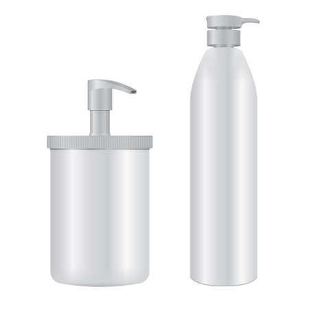 Pump bottle. Cosmetic dispenser packaging, soap, lotion, shampoo. Liquid moisturizer container. Medical treatment, detergent tube with pump cap, realistic 3d illustration 向量圖像