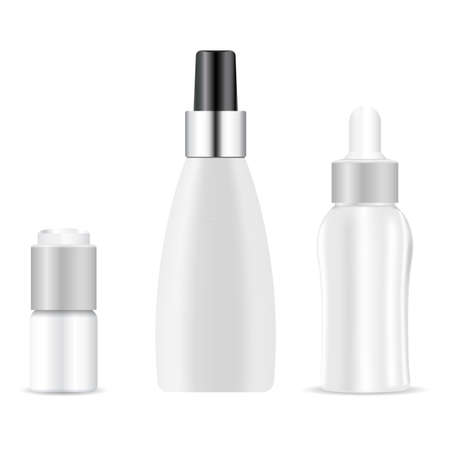 Serum dropper bottle. Essential oil container mock up, natural aroma vial, plastic medicine packaging, medical template. Plastic eyedropper bottle, beauty liquid jar