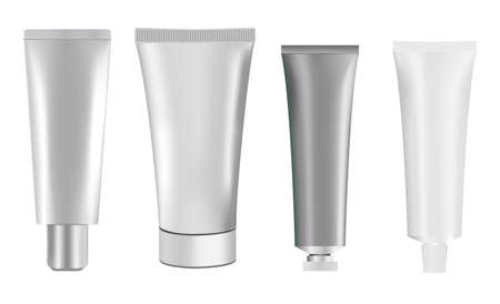 Silver cosmetic tube mockup. Squeeze cream package. White plastic toothpaste tube template. Realistic flexible sunscreen cream tube, vector illustration