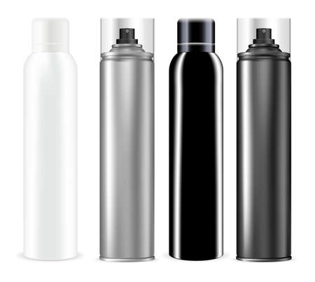 Spray can. Chrome deodorant spray bottle mockup. Aluminum tube for hairspray, mist freshener container, silver vector packaging design. Toilet refresher tin, sprayer template isolated 向量圖像