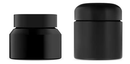 Cosmetic cream jar black plastic mockup. Beauty container for wax or body scrub. Premium men cosmetic packaging for advertising. Face skin cream or powder bottle mock up for presentation