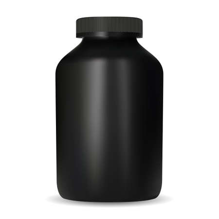 Creatine nutrition jar. Black design protein container mockup. Sport supplement pill tub template. Casein gainer can with screw cap, round vector blank. Fitness drug pack, muscle workout