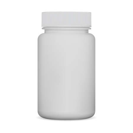 White pill bottle. Supplement jar, plastic package mockup. Medicine can isolated on white background, health cure, pharmacy remedy container. Prescription medicament packaging