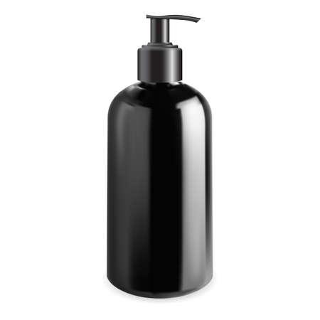 Men cosmetic pump bottle mock up. Cleanser gel dispenser container, vector template. Liquid soap plastic pack blank. Face care moisturizer illustration