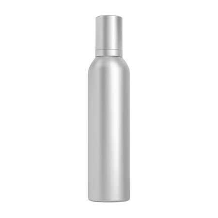 Spray can. Hairspray aerosol bottle, cosmetic mockup blank. Aluminum cylinder tube, silver chrome container. Realistic paint tin design, metalic freshener illustration Illusztráció