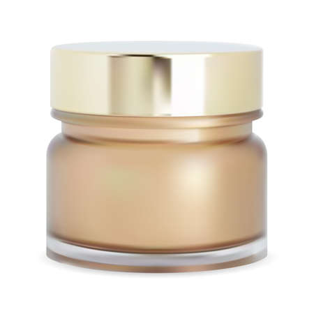 Cosmetic powder jar. Face cream bottle, mackeup box. Glossy glass realistic jar with gold glossy metal lid. Body scrub tube, round creme bottle