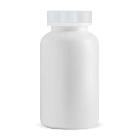 White pill bottle blank. Isolated medicine supplement jar, vector design. Prescription capsule box template isolated on white background. Medicament cure, antibiotic drugs package, your label Illusztráció