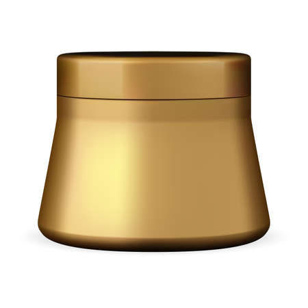 Cream jar. Golden plastic beauty container, powder box. Face care scrub round pot. Glossy gold canister mockup, face blush makeup template, skin care product packaging Illusztráció