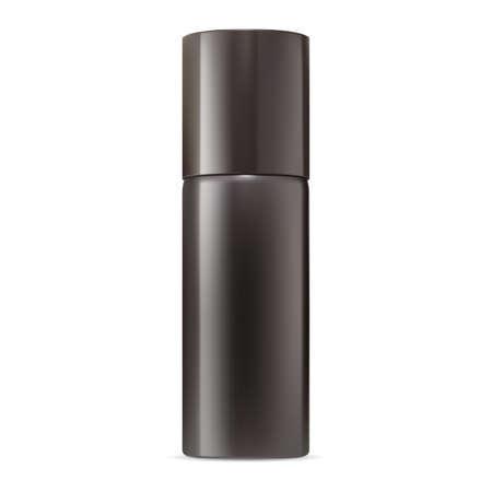 Deodorant spray mockup. Aluminum aerosol bottle blank. Metal air freshener container, realistic packaging mockup. Hairspray cylinder tin template. Mist sprayer, perfume odor or antiperspirant