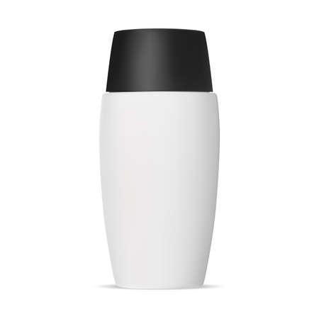 Shampoo bottle mockup. Black cap oval tube template design. Realistic body gel round packaging collection. Shower moisturizer product illustration, bath soap advertising, beauty care Illusztráció