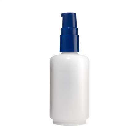Pump jar. Face cosmetic serum bottle, skin care product mockup. airless dispenser for aromatic essence, foundation cream, moisturizer gel. White glass packaging, perfume case, matt