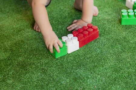 little child plays constructor with cubes on a green carpet.  concept of logical games