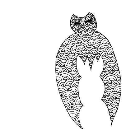 Página Para Colorear De Zentangle Totem Bat Adulto-estrés ...