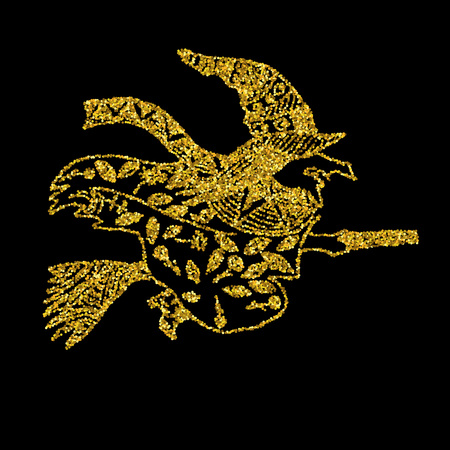 night dress: Vector illustration of halloween witch flying on broom Illustration