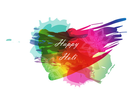 pichkari: Creative template for Indian festival Happy Holi celebrations with multi color splash and strips on white background.