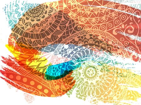 Happy Holi festival vector banner design with lettering, paint splashes and mehndi.