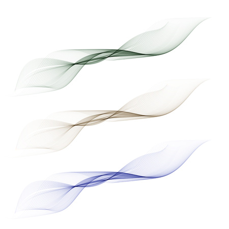 Abstract smooth color wave vector set on transparent background. 向量圖像
