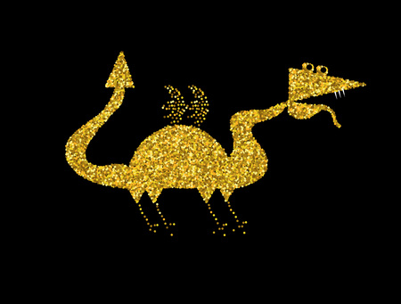 chinese astrology: Golden Dragon on black background.Gold Chinese Dragon vector. Illustration