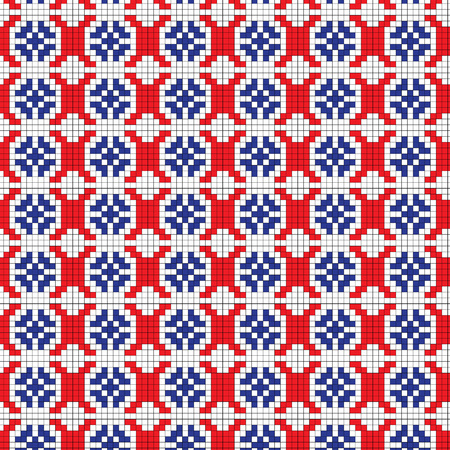 Isolated seamless texture with red, black and blue floral patterns on the fabric. Illustration