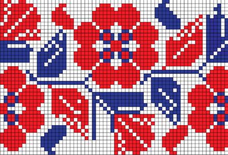 生地に赤、黒、青の花柄と孤立したシームレスなテクスチャです。  イラスト・ベクター素材