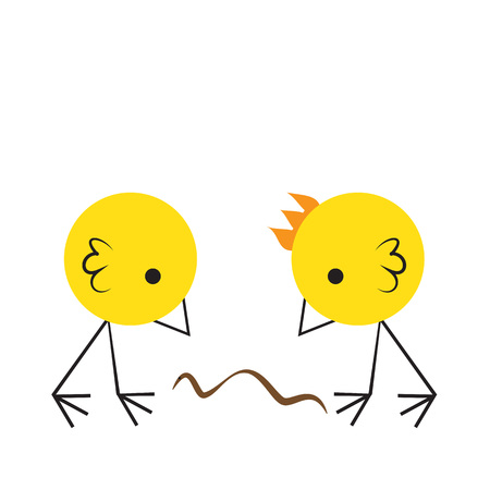 pollitos: Two angry chicks fighting for a worm, vector illustration. Vectores
