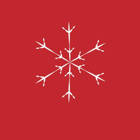 Sfondo di Natale Fiocchi di neve bianche su sfondo rosso. sfondo per i saluti di Capodanno. Vettoriali