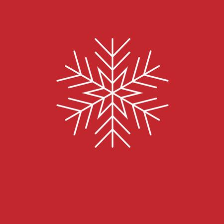Sfondo di Natale Fiocchi di neve bianche su sfondo rosso. sfondo per i saluti di Capodanno.