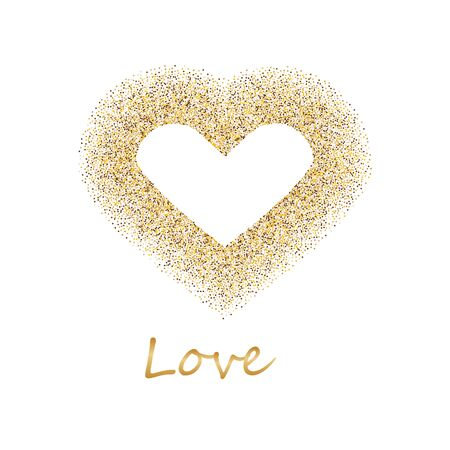 Follow your heart. Golden frame in the shape of a heart made of golden confetti on white background.