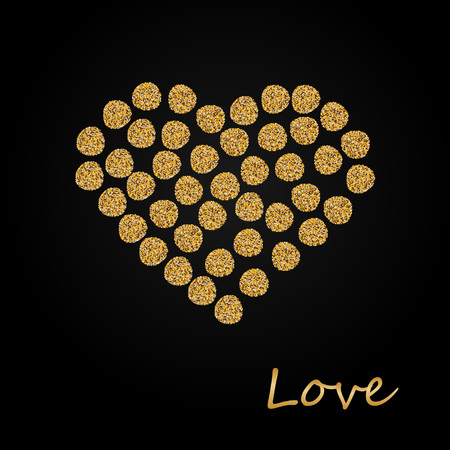 Creative Sparkling Heart made by Golden Glitter for Valentine s Day celebration or Love concept. Hearts made of golden sparkling confetti