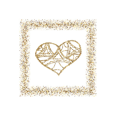Happy Valentines Day, with golden glitter effect in gold frame, isolated on white background. Vector illustration. Can be used for Valentine s Day design.